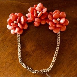 Pink 3D Flower Necklace with Rhinestones